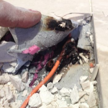 Faulty heating repairs with burnt cable