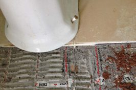 Under tile heating repair with tiles removed