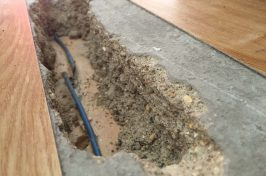 Cut blue wire underneath wooden floor